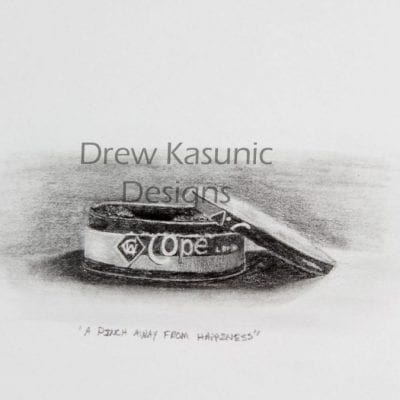 Drew Kasunic pencil drawing with shading of a can of Copenhagen.