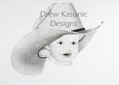 Drawing by Drew Kasunic, Don't Let Your Babies Grow Up To Be Cowboys.