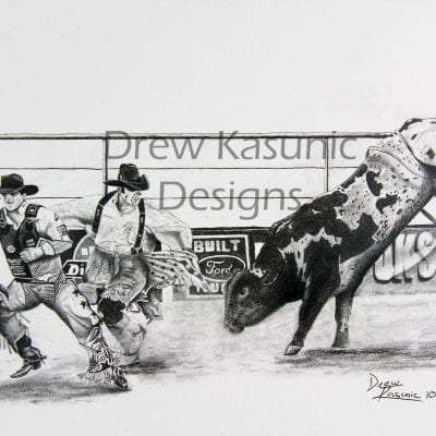 Beautiful hand =drawn in pencil western rodeo theme original of PBR Bullfighter Protecting