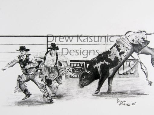 Rodeo Pencil Art by Drew Kasunic
