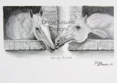 Horses drawn in pencil by Drew Kasunic