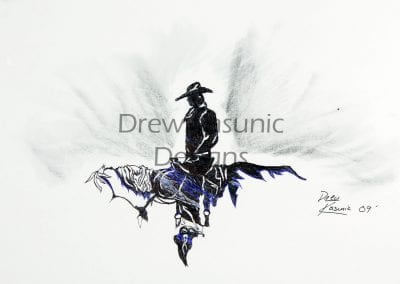 Cowboy shadow on a horse with blue color accents by Drew Kasunic