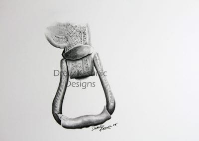 Hand-drawn and shaded stirrup drawing.