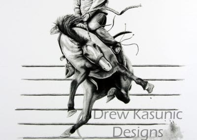 Western Pleasure Bronc Rodeo Drew Kasunic Pencil Drawing