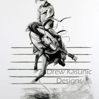 Western Pleasure Bronc Rodeo Drew Kasunic Pencil Drawing