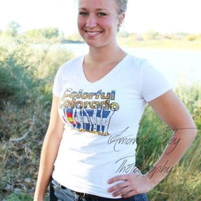 Drew Kasunic Designs Colorful Colorado original Design on a white Women's T-shirt.
