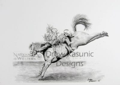 Lincoln Roger's picture of Tyler Scales PRCA Bare Back Rider inspired Drew Kasunic.