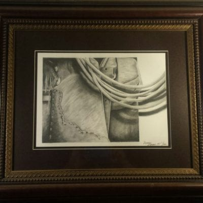 Pencil shaded Tools of the trade wooden framed Drew Kasunic Drawing